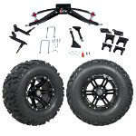 "GTW 6"" Lift w/ 12"" Specter Matte Black Wheel & Barrage Mud Tire For Club Car Precedent (2004-Up)"