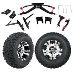 "GTW 6"" Lift w/ 12"" Vampire Machined/ Black Wheel & Barrage Mud Tire For Club Car DS (2004.5-Up)"